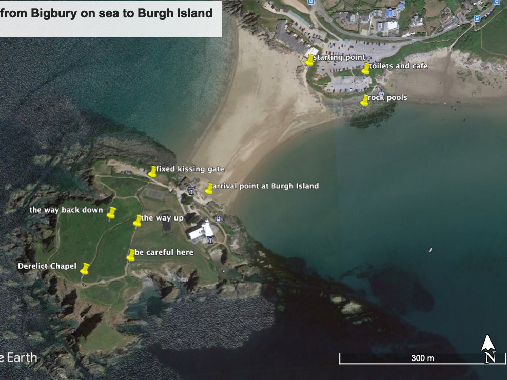 from Bigbury on sea to Burgh Island Satellite view
